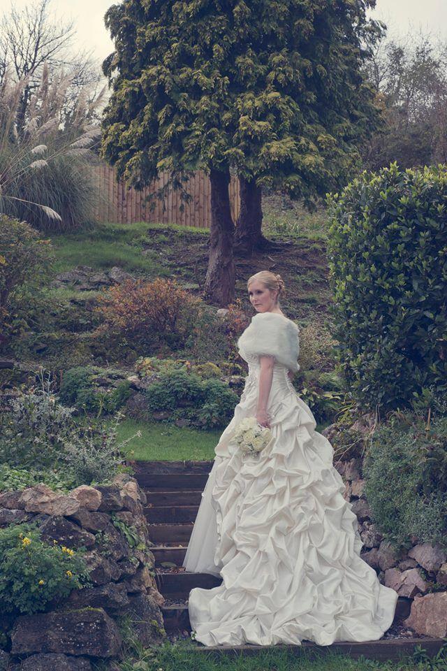 Gracie looking graceful for her vintage Winter wedding