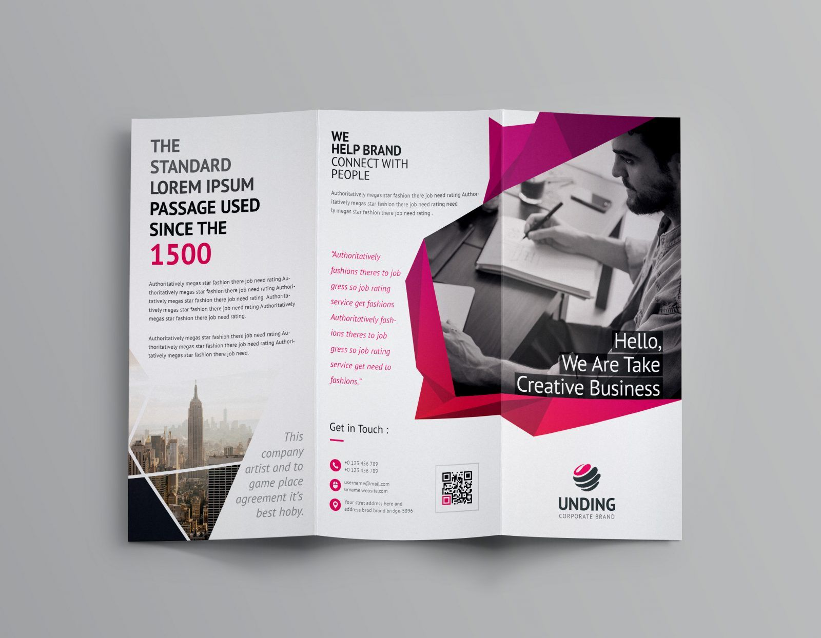 fancy business tri fold brochure template 001170 graphic template