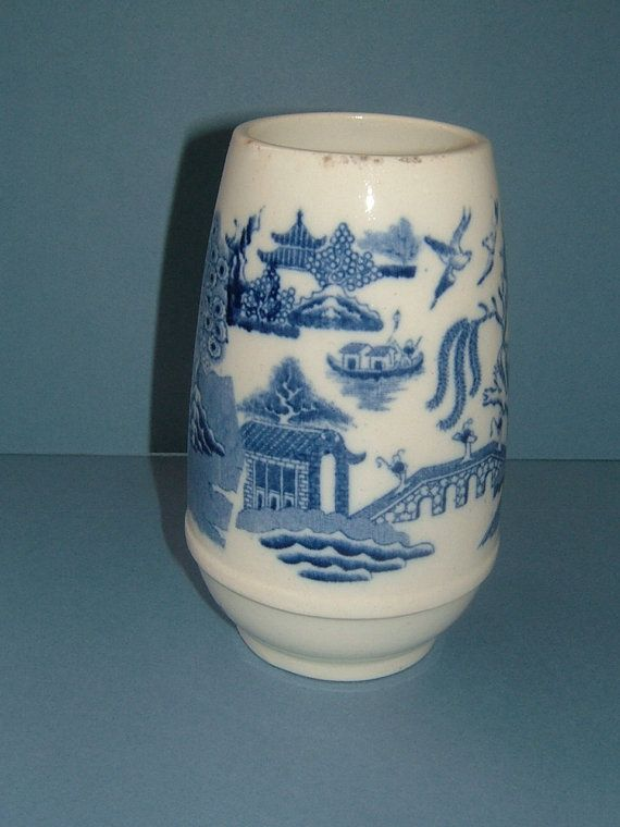 Victorian Wedgwood Vase Blue White Vase Flow Blue Vase Willow