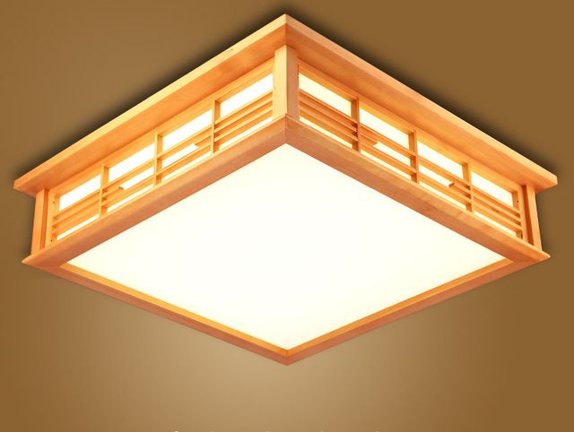 Led Schlafzimmerlampe ~ Modern minimalist wooden ceiling light square ceiling mounted