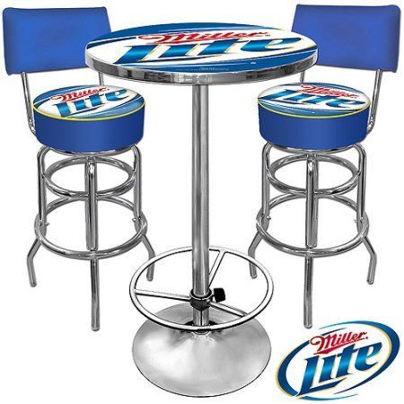 Trademark Two 40 Inch Bar Stools With Back And 42 Pub Table Ultimate Miller Lite Room Combo Box 2 Of 3 Multicolor Bartablesandstools