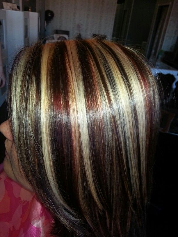 Red Blonde Brown Highlights Lowlights Red Blonde Hair Hair Highlights Hair Color Highlights