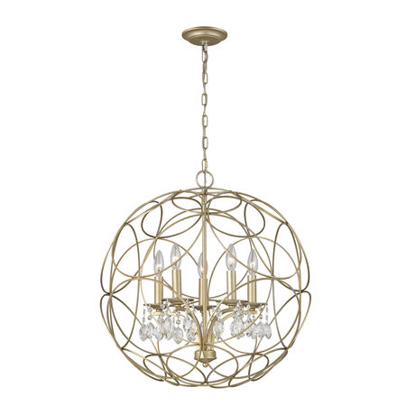 Chandette 5 Light Chandelier In Aged Silver 5 Light Chandelier Chandelier Lighting Elk Lighting