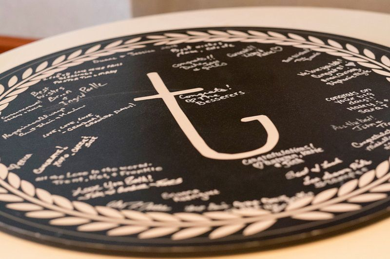 Chalkboard guestbook- Photo By McConville Studio