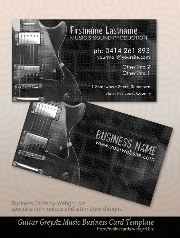 Grey Az : Electric Guitar Music Business cards by onlinecards ...