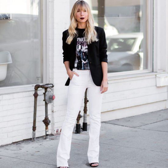 bcd6828d2b57 Styling up a vintage band t-shirt with a blazer and white flared jeans.