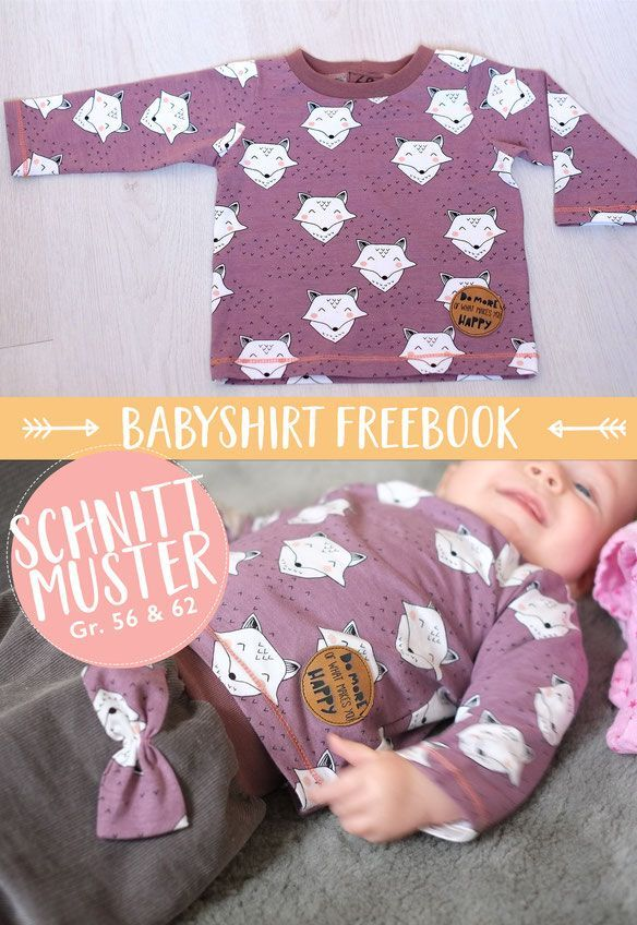 Photo of free sewing pattern and sewing instructions for a baby shirt 50 / 56-62 / 68-74 / 80-76 / 92 – cloth diaper