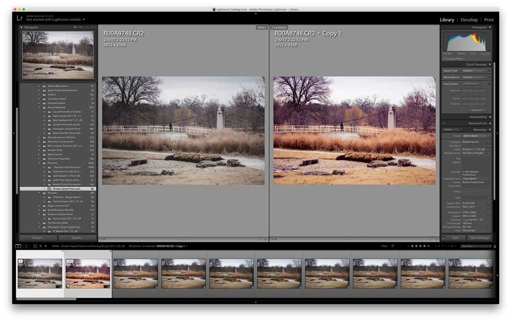 Lightroom before and after side by side