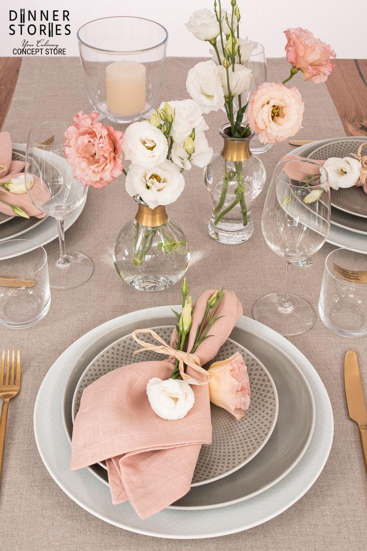 Tischwäsche in Rosé und Aqua Mint mit Nordal Vasen Gold