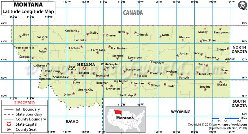 Montana Latitude And Longitude Map USA Maps Pinterest - Montana state usa map