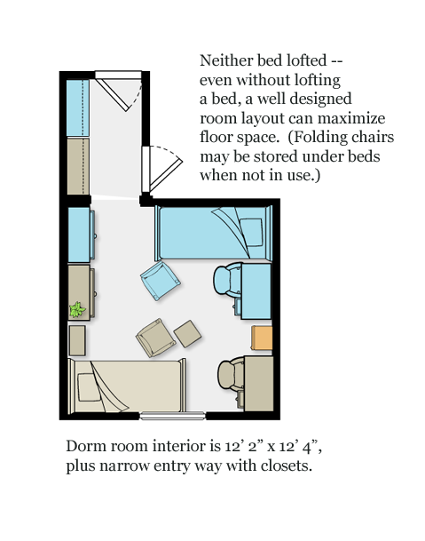 Dorm Room Layouts: Dorm Room Layout That Maximizes Floor Space, Without