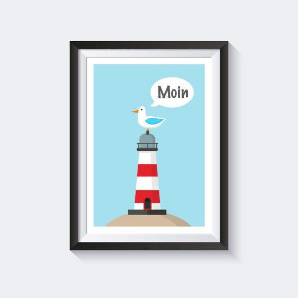 A4 poster kinderzimmer poster maritim poster illustration - Maritim streichen ...