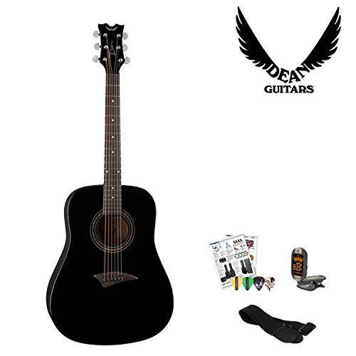 Dean Guitars Axd Cbk Black Acoustic Guitar With Accessories Now On Sale Summer Sale Deals Acoustic Guitar Accessories Black Acoustic Guitar Dean Guitars