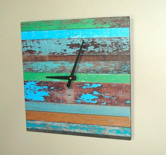Chippy Paint Wall Clock 10 Inch Square Wall Clock By Makingtimetc 48 00 Unique Clocks Rustic Wall Clocks Square Wall Clock