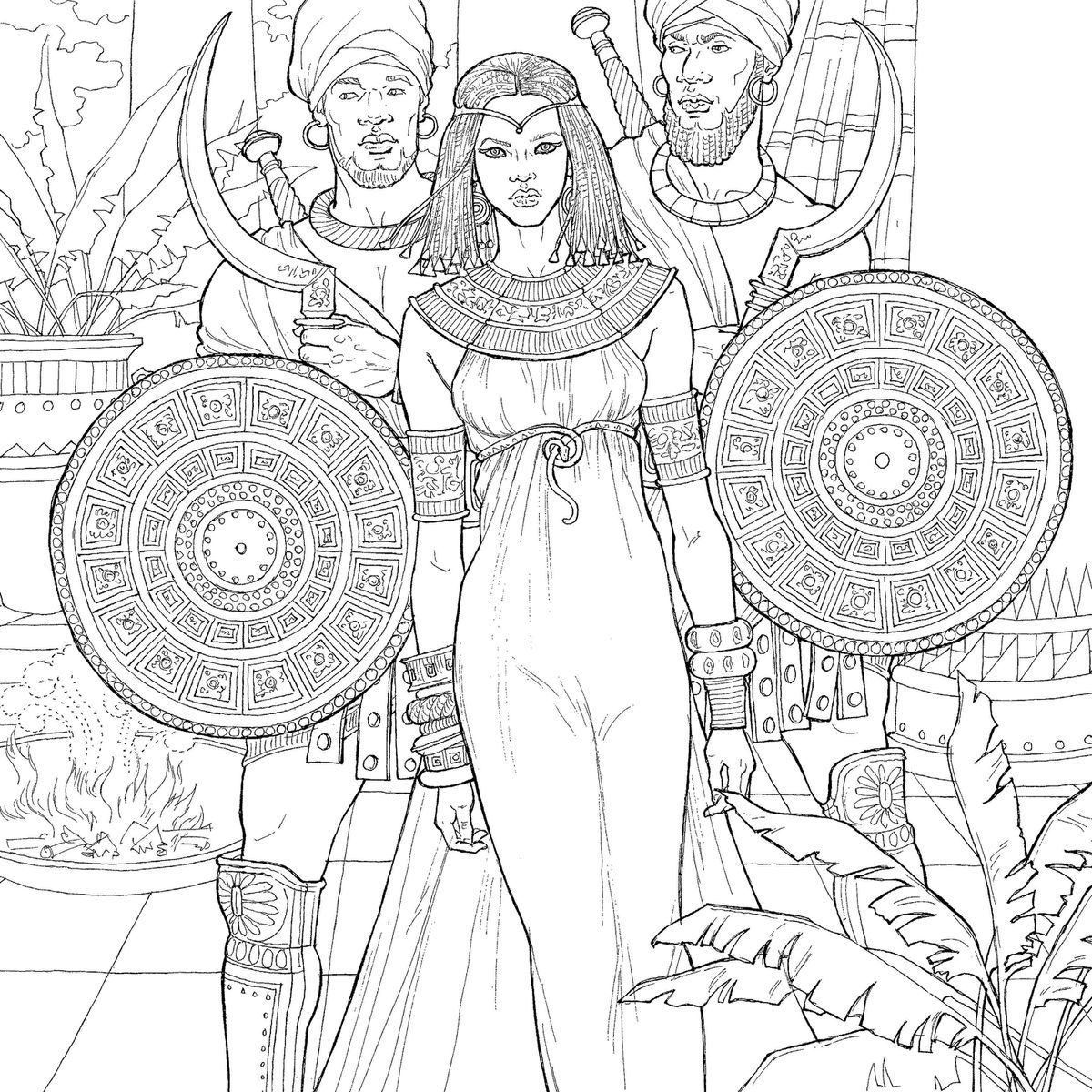 a page from the upcoming throne of glass coloring book featuring princess nehemia - Coloring Book Creator