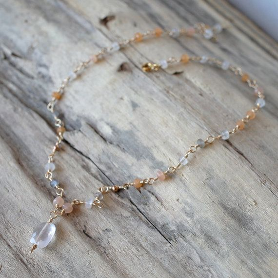 Peach aventurine with rose quartz necklace   nickel/&lead free chain