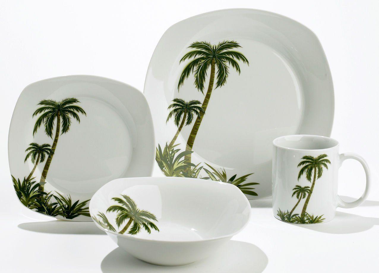 Florida Marketplace 16 Pc Palm Tree Dinnerware Kitchen Dining