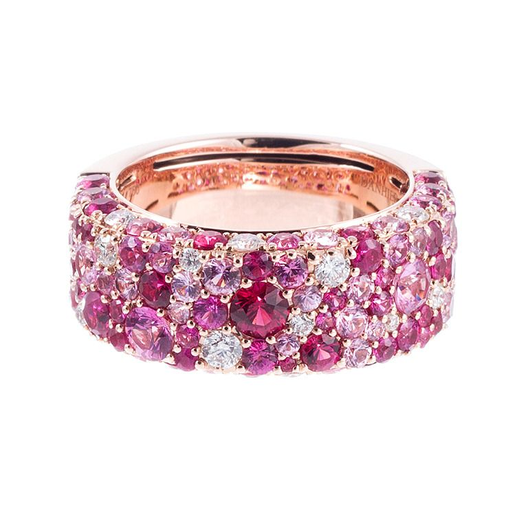 Contemporary Speckled Pink Sapphire Diamond Band Mood