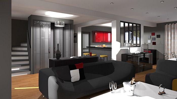 Cette maison moderne aux volumes cubiques offre une surface - salon sejour cuisine ouverte
