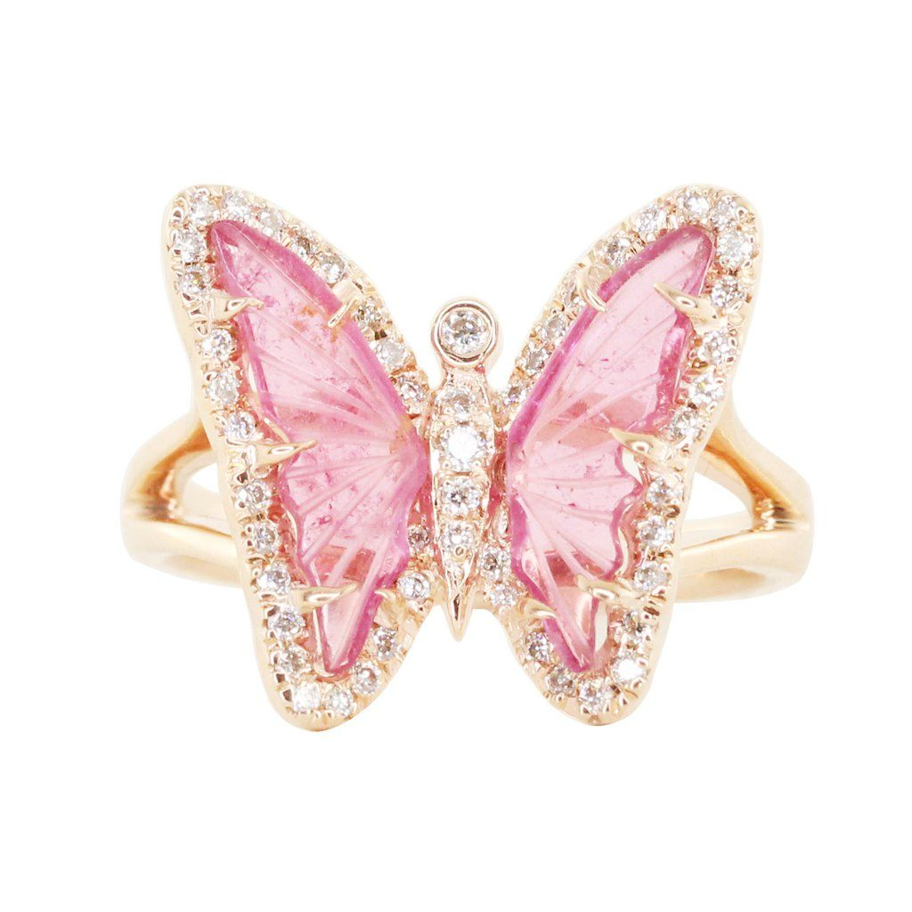 14kt rose gold and diamond pink tourmaline butterfly ring **this ...