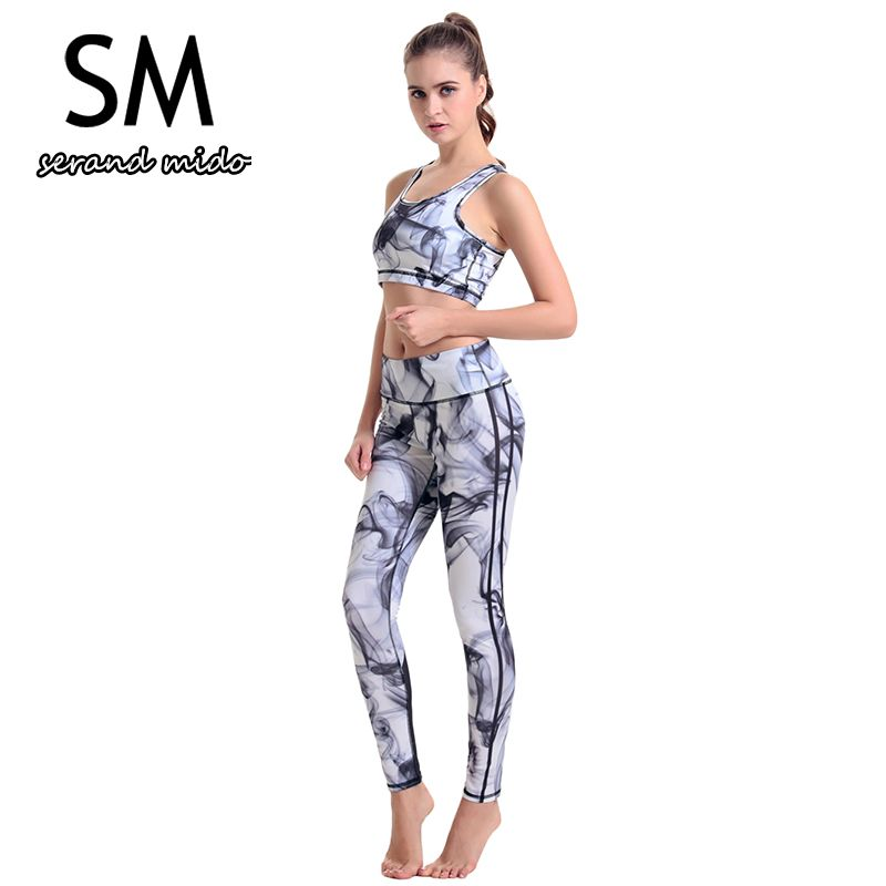 Print Women Yoga Sets Running Sport Bra Pantalones Pant Fitness Sports  Clothes Set For Women Workout Clothing Two-piece Suit c7c79f4c753