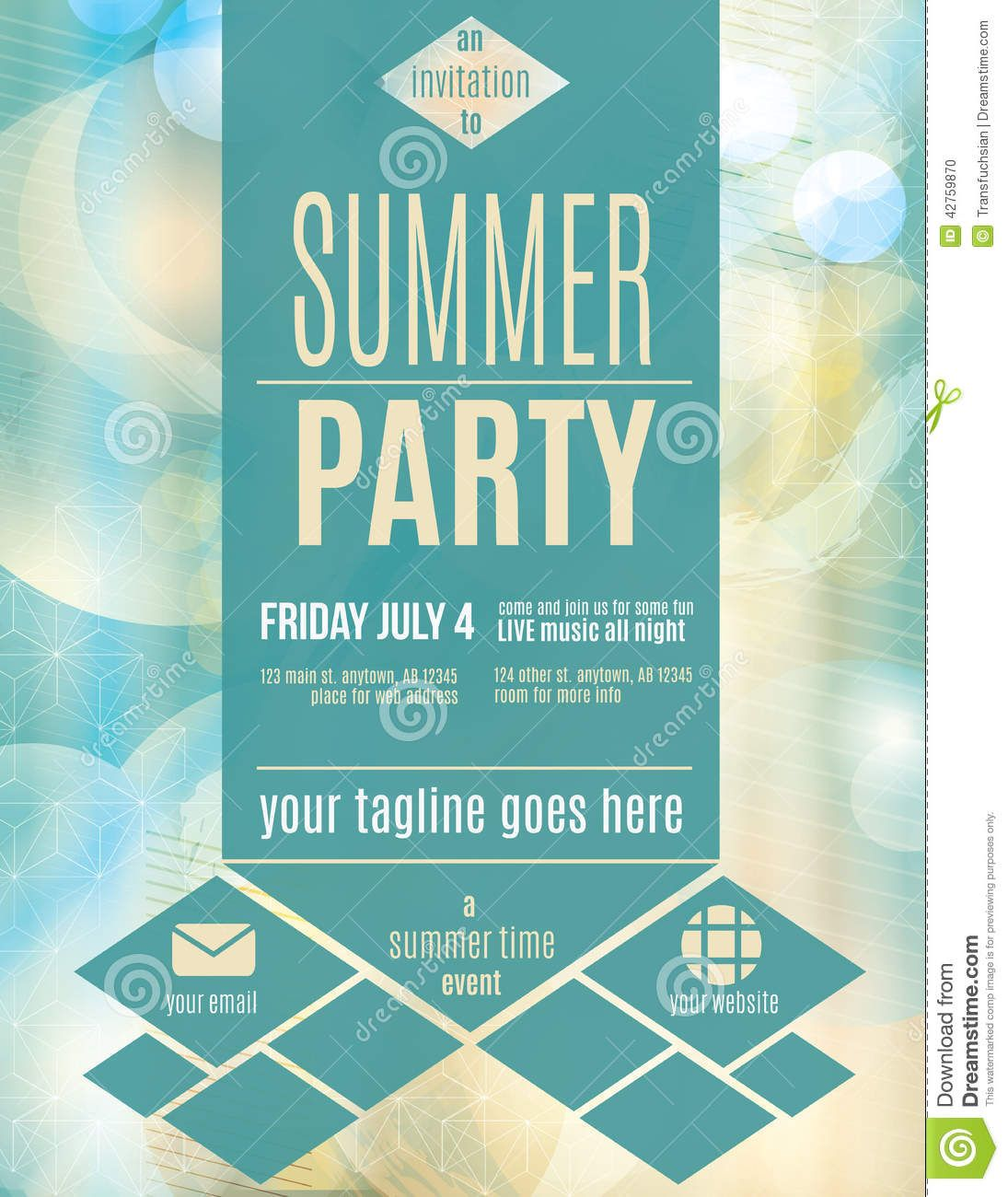 Modern Style Summer Party Flyer Template  Download From Over