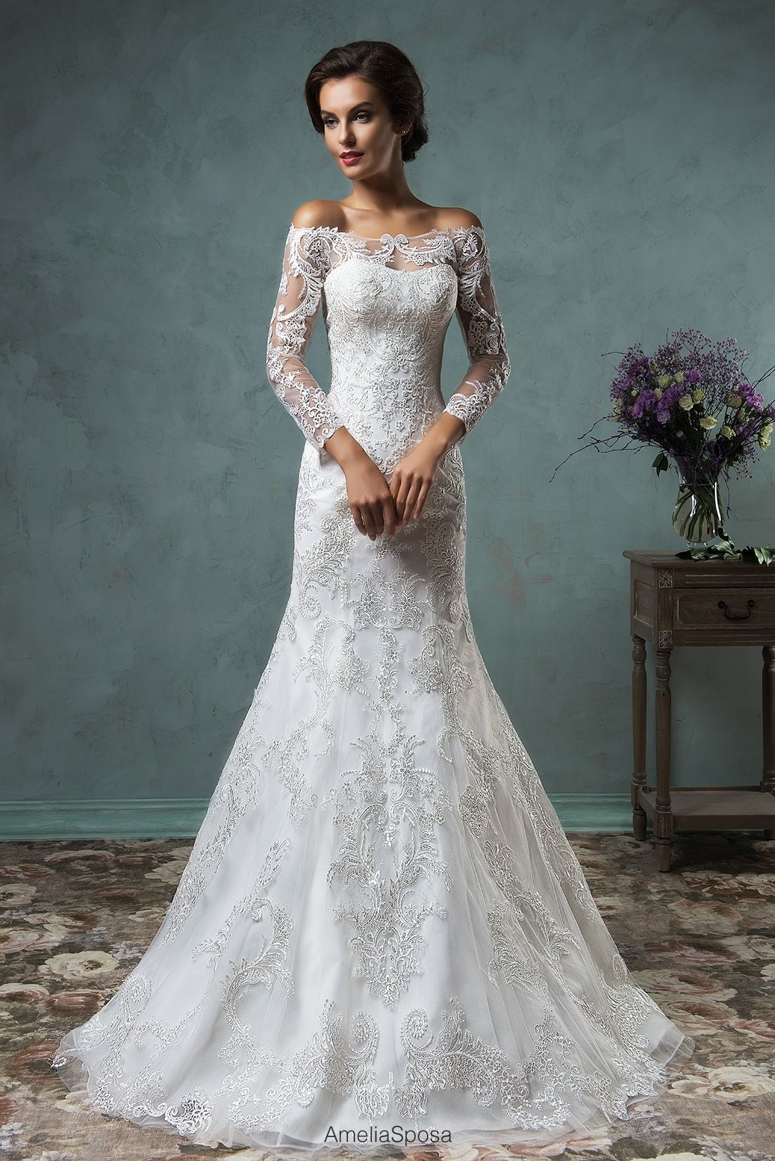 Off the shoulder lace mermaid wedding dress  Wedding dress Celeste  wedding dresses  Pinterest  Wedding dress