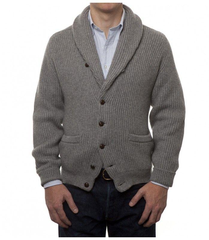 Grey Four Ply Cashmere Shawl Collar Cardigan   Moda para