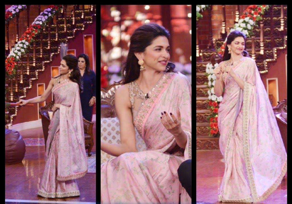 Deepika Padukone in a Anushree Reddy sari as seen on TV ...