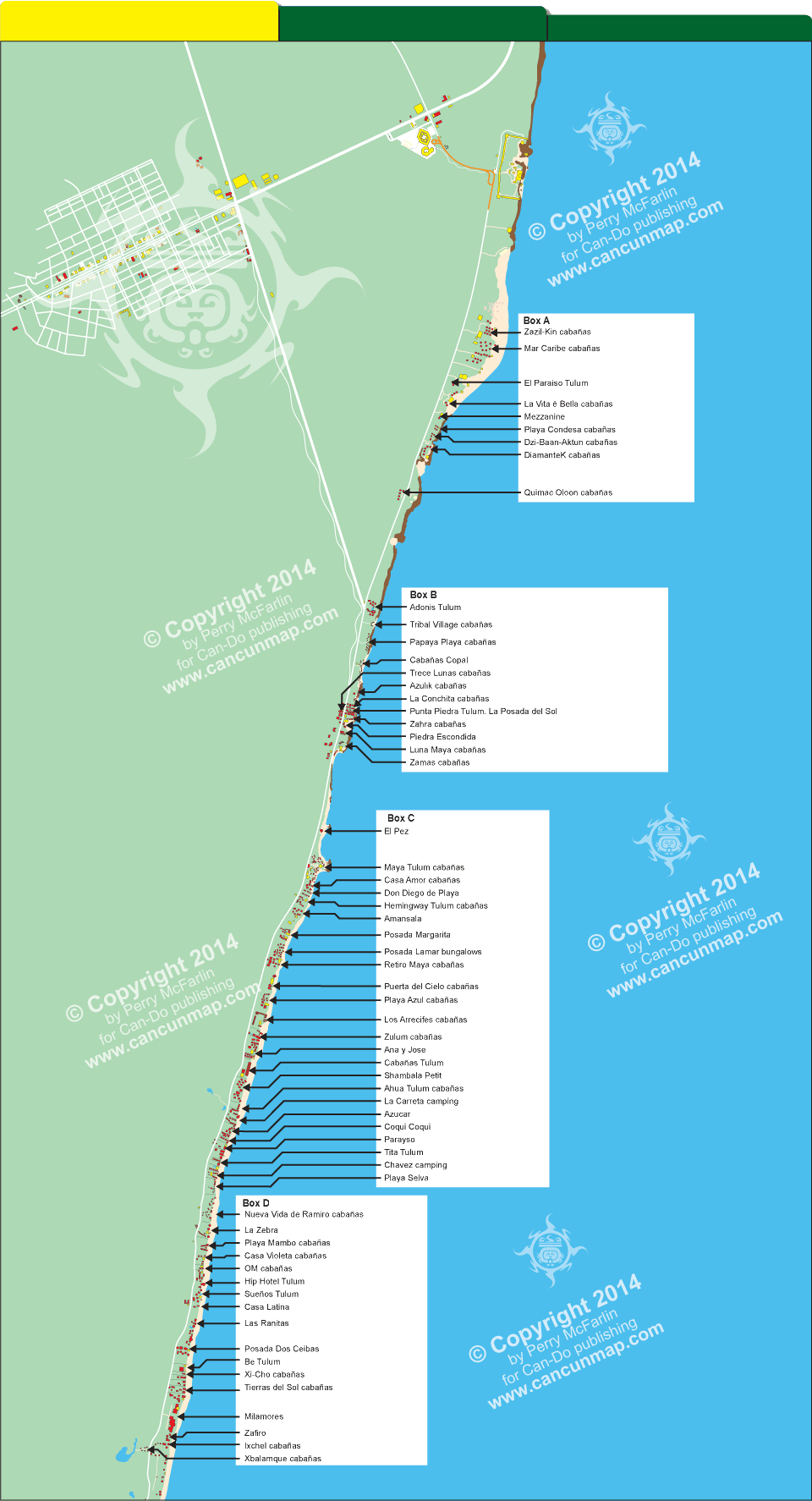 map of hotels cabaas and resorts located beachfront tulum mexico