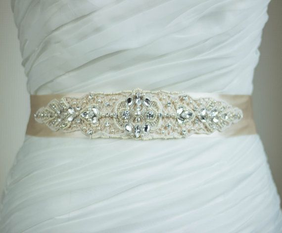 Champagne Bridal Sash Wedding Dress Sash Belt Ivory Sash Applique