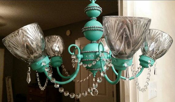 Crystal Chandelier - Aqua Crystal chandelier - Turquoise chandelier - Turquoise light fixture - hanging light - chandelier ideas - chandelier makeover