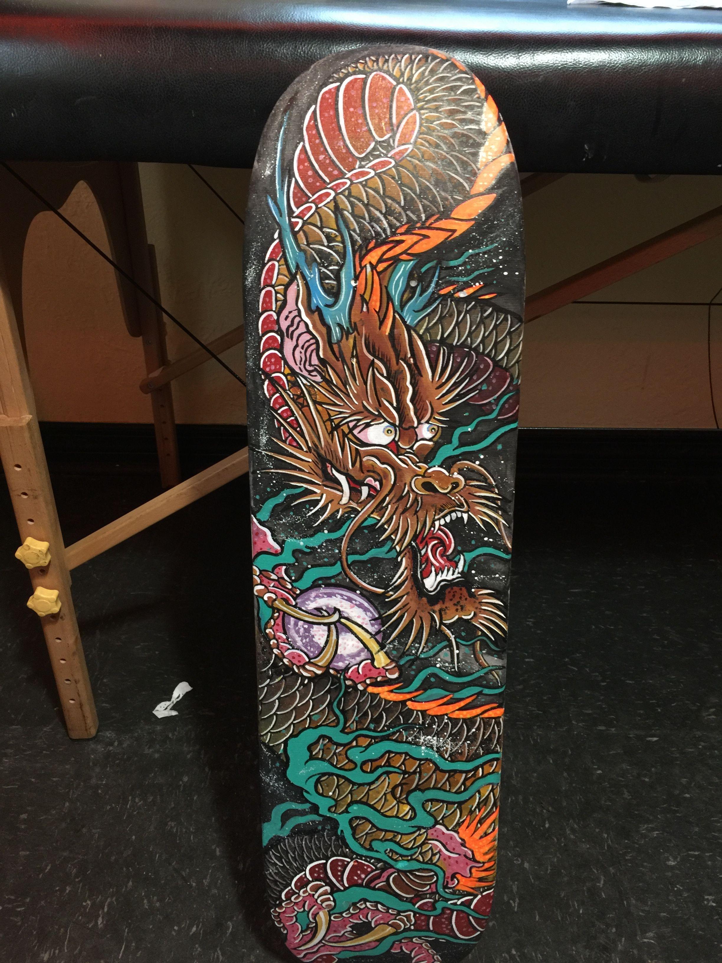 Dragon skateboard skateboard art tampa tattoo