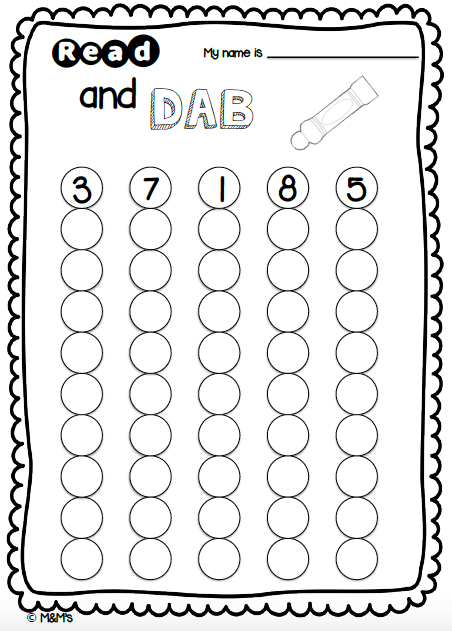 Count And Dab Early Number Sheet Created By The M M S Dot Cards Printable Activities Activities