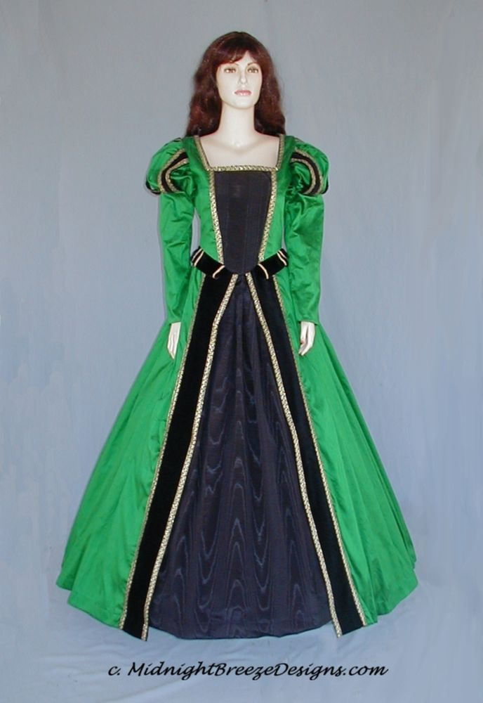 CUSTOM Ladies Renaissance Mardi Gras Dress Gown Costume, Your Size and Colors! #MidnightBreezeDesigns #Dress ~ NEED this gown!!