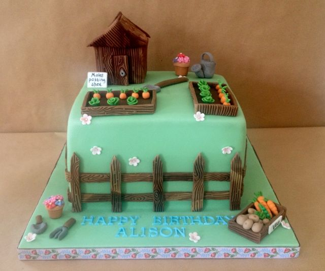 gardening themed cake from Cuppies \'n\' Cream - potting shed model ...
