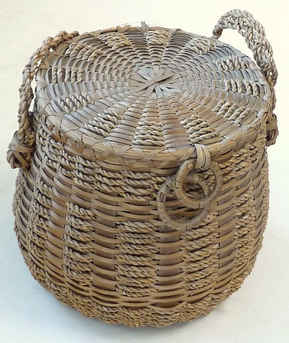 Vintage Penobscot Indian Maine sweetgrass splint covered basket purse Native American sewing yarn