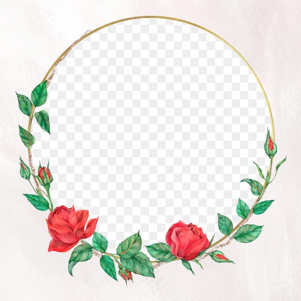Rose Round Gold Frame Png Transparent Background Free Image By Rawpixel Com Boom Flower Illustration Flower Frame Gold Frame