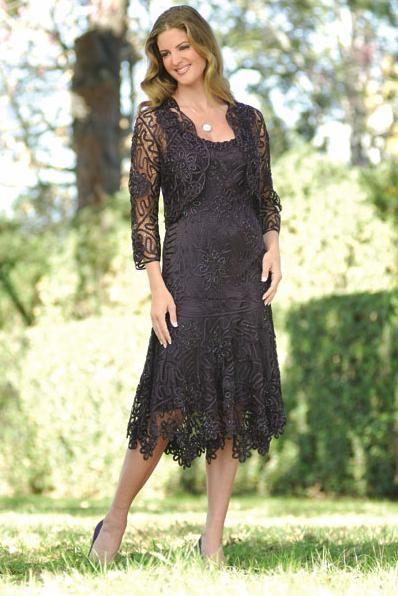 plus size tea length dresses mother bride | C9126 2PC Tea Length ...