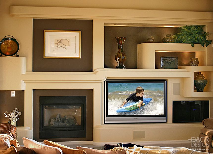 cosy drywall entertainment centers. Modern  contemporary design custom home media wall with floating LCD TV natural stone accents fireplace art niches and ligh