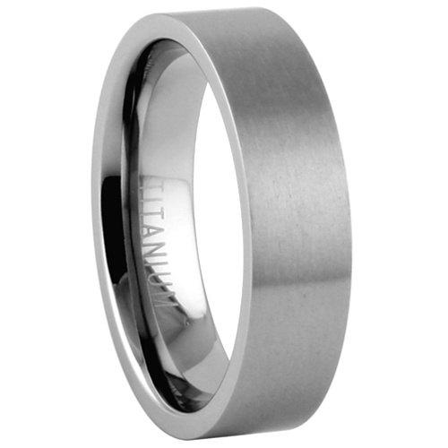 Titanium Wedding Band Comfort Fit Ring 6mm Width Pipe Flat Matte