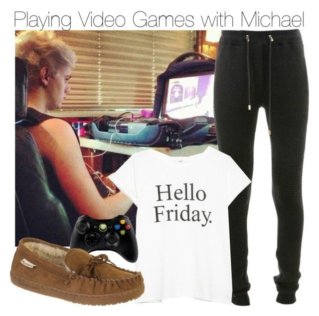 """Playing Video Games with Michael"" by fionaaaaaaaaaa99 ❤ liked on Polyvore featuring Balmain, MANGO, Microsoft and Bearpaw"