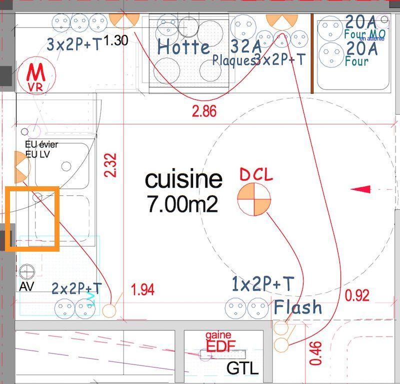 Position de la prise électrique du lave vaisselle sur un plan de - logiciel de plan de maison gratuit