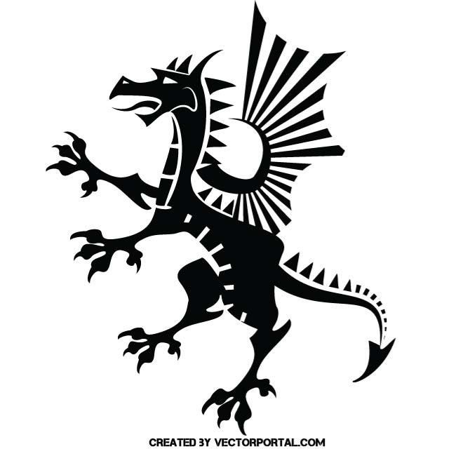 Heraldic Dragon Vector Silhouette Vector Free Animal Free Free Vector Images