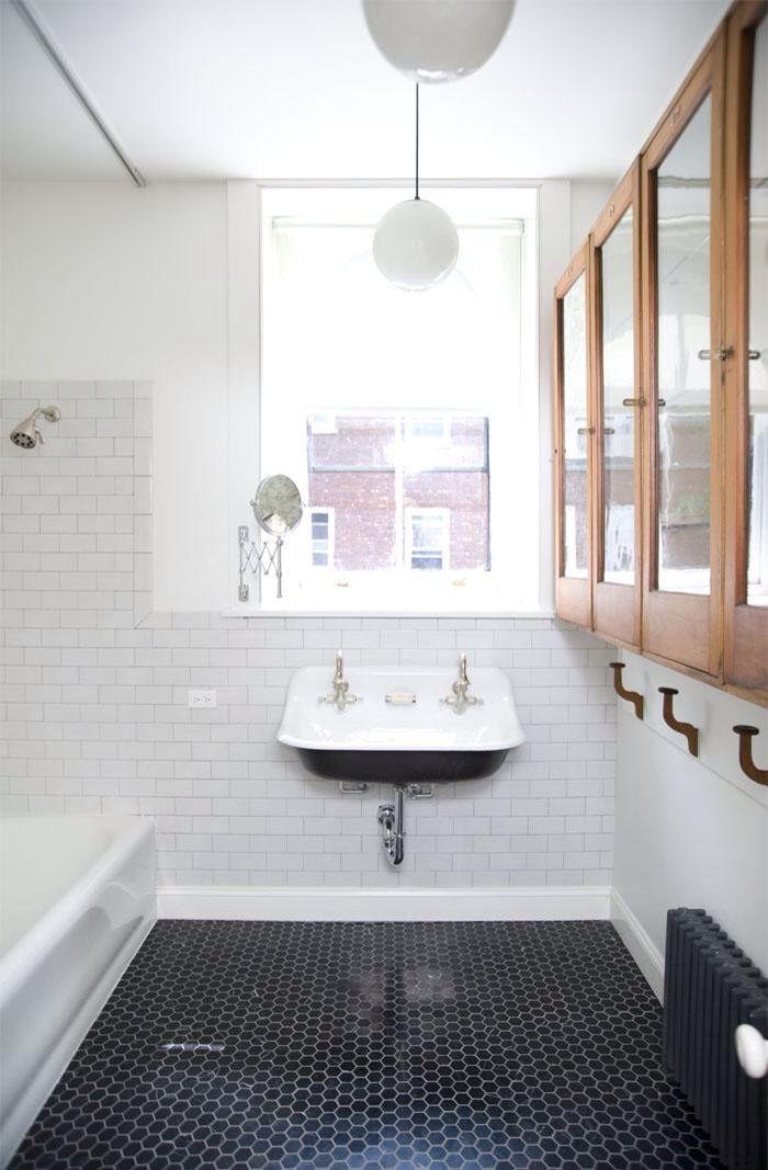 Sink In Front Of A Window Can Work I Like The Black Tile Floor Too Cottage Bathroom Bathroom Design