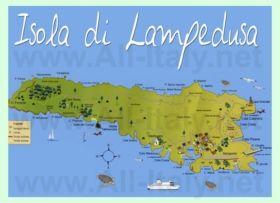 Podrobnaya Turisticheskaya Karta Ostrova Lampeduza Ostrova Karta