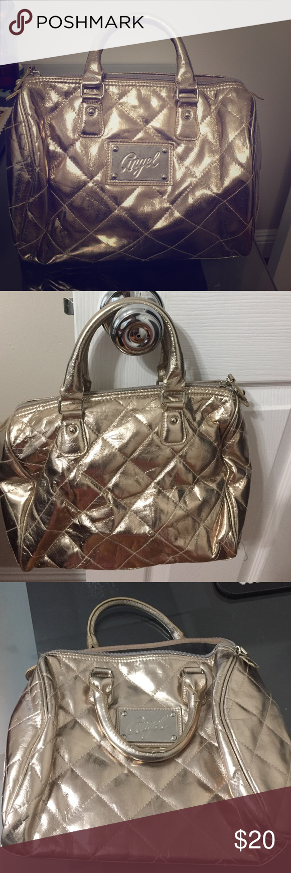 Victoria secret bag Gold Victoria secret bag. One large pocket. Great for traveling Victoria's Secret Bags Mini Bags