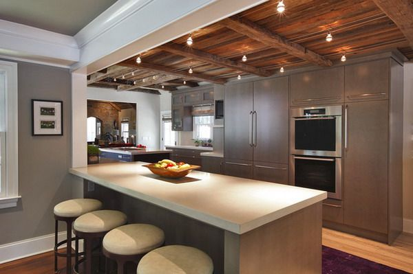 Contemporary Kitchen Renovation With Cherry Wood Ceiling And Enchanting Lightings Kitchen Ceiling Design Kitchen Design Small Contemporary Kitchen