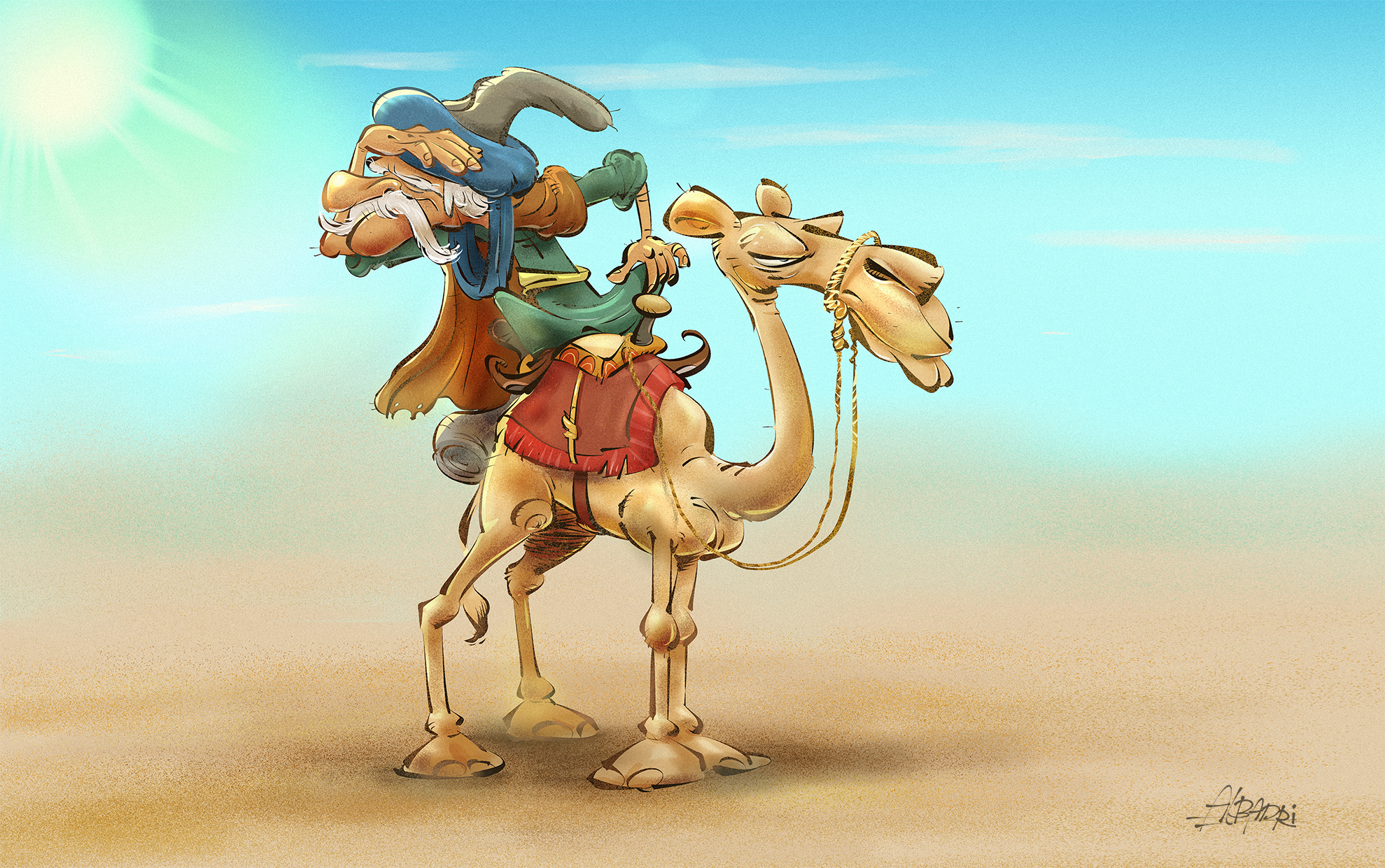 Image result for lost in the desert on camel cartoon