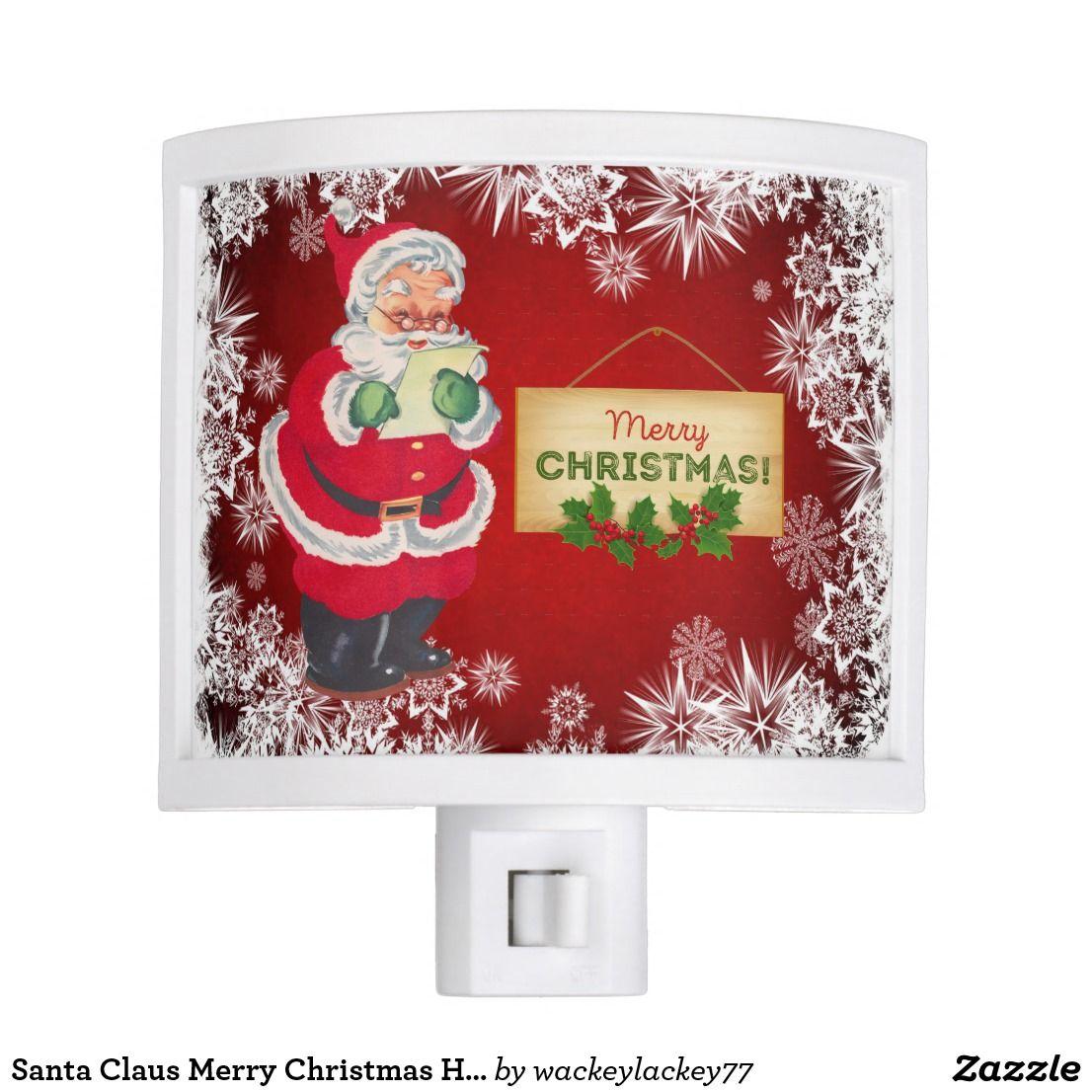 Santa Claus Merry Christmas Home Decor Night Light Zazzle Com Christmas Home Custom Holiday Card Night Light